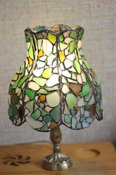 Sea glass stained glass Tiffany table lamp, OOAK, bogemian boho loft interior design