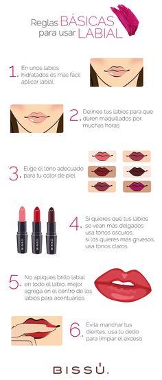 Los errores más comunes con labiales. http://tiendaweb.bissu.com/labios/12-labial-humectante.html