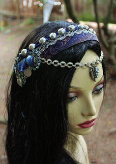 Bellydance Headpiece- Sparkling Starlight- Art Nouveau, Tribal Fusion Belly Dance, Wedding. $70,00, via Etsy.