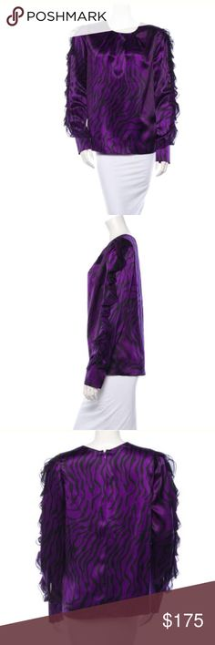 Thomas Wylde nwt zebra print top Sz large purple Silk purple ruffled sleeve top nwt Thomas Wylde Tops Blouses