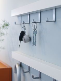 In our opinion it's difficult to have too many hooks in an entry. Handy for taking care of all manner of things from school bags to car keys, tennis rackets to umbrellas. If your hallway floor is full of clutter, consider hooks as a solution. Small Apartment Interior, Hallway Flooring, Ikea Decor, Ikea Wall, Ikea Home, Home Gadgets, Small Storage, Small Space Living, Ikea Furniture