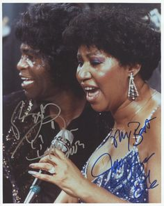 James Brown & Aretha Franklin Autographed Photo -Certificate of Authenticity Included at AARONDALE