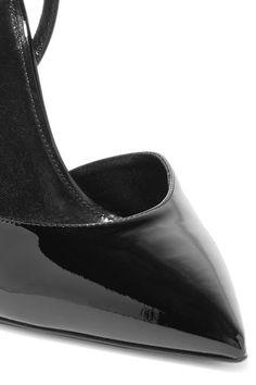 Saint Laurent - Edie Metallic Snake Effect-trimmed Patent-leather Pumps - Black