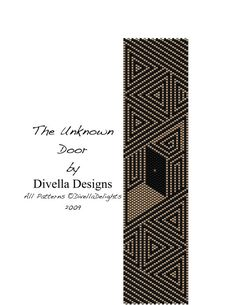This listing is for my original The Unknown Door pattern design using even count peyote stitch and includes clasp instructions for a plain loop and toggle and the medallion style as well and even instructions to make a pair of matching earrings. Leave the clasp off and you have a beautiful bookmark! It is assumed you are somewhat familiar with the peyote stitch and does not include the basics of that stitch. There are countless videos on the Internet free that show you this basic, easy…