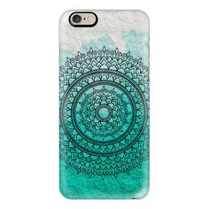 Ombre Teal Watercolour Mandala - iPhone 6s Case,iPhone 6 Case,iPhone... ($40) ❤ liked on Polyvore featuring accessories, tech accessories, iphone case, iphone cases, iphone cover case, apple iphone cases, slim iphone case and clear iphone cases