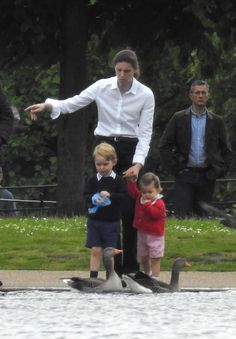 Prince George and Princess Charlotte with Maria. Looks like it could be taken in Hyde Park, but I'm not sure.