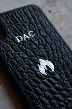 iPhone X Case style in Black Croc, personalized with 'DAC' initials and Fire '🔥' Emoji in silver.   Personalize your own, https://michaellouis.com/collections/leather-iphone-x-cases