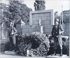 The monument erected to the memory of Heydrich at the fatal corner in Prague with a perpetual SS Guard of Honor.