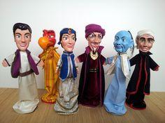 Aladdin: handmade wooden puppets