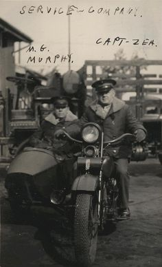 Thomas Murphy and Sherman Zea on Motorcycle, 1935 / Thomas Murphy and Captain Sherman Zea pose for a photograph on a motorcycle in Shanghai, China, where they were members of the Service Company, 4th Marines. From the Thomas W.P. Murphy Collection (COLL/787), Marine Corps Archives & Special Collections