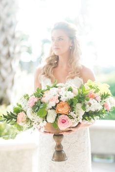 Pretty wedding flowers: http://www.stylemepretty.com/little-black-book-blog/2014/10/29/nautical-bald-head-island-wedding-inspiration/   Photography: Rachel Red - http://rachelredphotography.com/