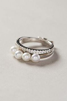 quadruple pearl ring / anthropologie