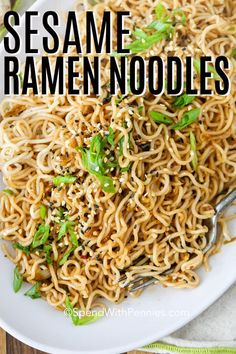 Sesame Ramen Noodles are an easy dish that is addictively good! This quick dish is made with instant ramen noodles and garlic tossed in a sesame oil sauce and garnished with toasted white or black sesame seeds. Ramen Recipes, Asian Recipes, Vegetarian Recipes, Cooking Recipes, Noodle Recipes, Easy Recipes, Ramen Dishes, Pasta Dishes, Comida Ramen