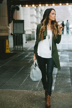 green jacket leather pants brown boots necklace fall outfit street style women fashion clothing gray handbag