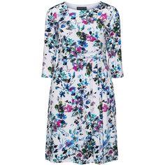Grace Multicolour Plus Size Floral jersey dress (1 330 UAH) ❤ liked on Polyvore featuring dresses, multicolour, plus size, floral print dress, women's plus size dresses, fitted midi dress, pleated dress and plus size dresses
