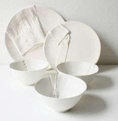 """""""Dressed for Dinner"""" ceramic dinner dishes by Marianne Vanooij.  These are my dream."""