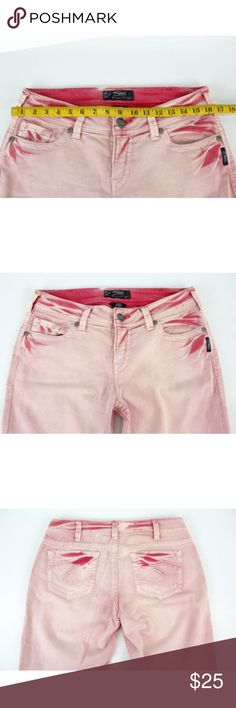 Silver Jeans Suki Skinny Pink Distressed Denim Silver Jeans Suki Skinny Pink Jeans  Brand: Silver Jeans Size: 30 x 31 Condition: Previously owned, previously worn.  Measurements: See photos for measurements. Silver Jeans Jeans Skinny
