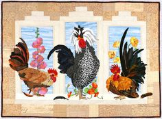 ROOSTERS APPLIQUE Quilt Pattern by Maggie Walker by FaroNell, $40.00