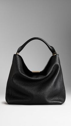 Burberry Medium Signature Grain Leather Hobo Bag  |  ≼❃≽  @kimludcom