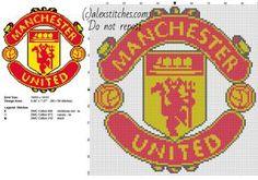 Manchester United soccer team logo free cross stitch pattern - free cross stitch patterns by Alex Cross Stitching, Cross Stitch Embroidery, Cross Stitch Patterns, Knitting Patterns, Crochet Ideas, Hand Embroidery, C2c, Manchester United Soccer, Frames