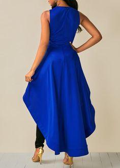 Royal Blue Sleeveless High Low Blouse - Trend Way Dress Blue Blouse Outfit, Royal Blue Blouse, 70s Fashion, African Fashion, Fashion Dresses, Fashion Black, Fashion Tips, Pretty Outfits, Pretty Dresses