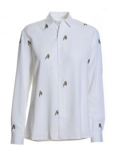 Young+British+Designers:+Lecchio+Embroidered+Cotton+Shirt++by+Bruta+-+Deliciously+crisp+and+fresh+white+cotton+shirt+with+scattered+floral+embroidery+making+it+both+office+and+off+duty+appropriate.+