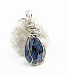 Blue Pietersite pendant necklace  Argentium by FeathersnThingz