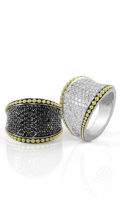 A striking combination of black and white diamonds. LAGOS Jewelry   Imagine Collection..would love without the yellow gold trim