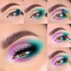 Eye Makeup Steps, Makeup Eye Looks, Eye Makeup Art, Skin Makeup, Turquoise Eye Makeup, Bright Eye Makeup, Colorful Eye Makeup, Maquillage On Fleek, Eye Makeup Designs