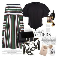 """When in doubt, wear stripes"" by naki14 ❤ liked on Polyvore featuring Tom Ford, E L L E R Y, SUNO New York, Chloé, Moon and Lola and Christian Dior"