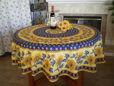 Traditional French Provence Van Gogh Sunflowers Yellow Navy Round Cotton  Tablecloth