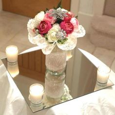 Incroyable Red Roses In Mirror Cube On Mirror Plate With Tea Lights   Wedding Table  Centre   Mia   Pinterest   Wedding Table Centres, Table Centers And Wedding  Tables
