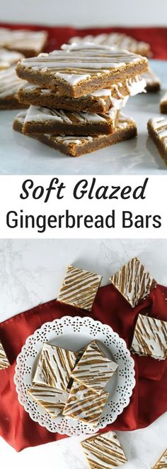 Soft Glazed Gingerbread Bars A quick and easy gingerbread recipe perfect for Christmas or the Holidays Easy Gingerbread recipe Christmas cookie trays and exchanges Köstliche Desserts, Holiday Desserts, Holiday Baking, Holiday Recipes, Dessert Recipes, Christmas Recipes, Christmas Sweets, Christmas Cooking, Christmas Gingerbread