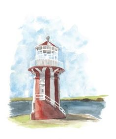 Framed Watercolor Lighthouse III Print