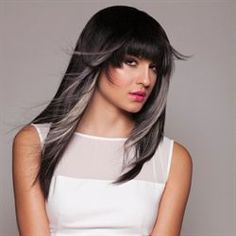 Brunette with grey/white peek-a-boo hightlights/contrast   panels