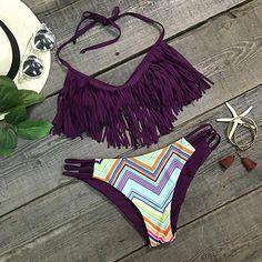Cupshe Dream State Tassel Halter Bikini Set