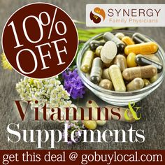 Get 10% OFF #supplements at Synergy Family Physicians & earn $2 for the local #school or cause you love with this #deal! ♥ #buylocal #fishoil #vitamins http://www.gobuylocal.com/offerseo/White_Bear_Lake-MN/Synergy_Family_Physicians/2318/424/