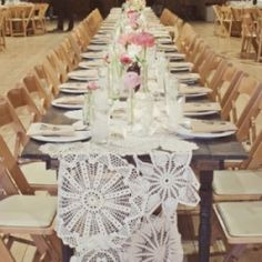 Pretty DIY details (like this doily table runner) in this southern country chic wedding by Heidi Geldhauser of Our Labor of Love!