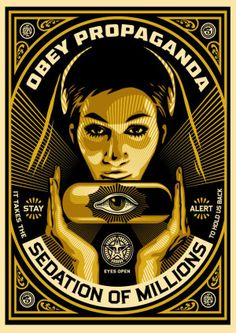 Available for sale from Pace Prints, Shepard Fairey, Sedation Pill Silkscreen and mixed media collage on paper, HPM, 40 × 30 in Art Obey, Shepard Fairey Art, Shepard Fairy, Illustration Photo, Etiquette Vintage, Propaganda Art, Plakat Design, Political Art, New Poster