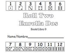 Free printable math books for preK: Roll Two/ Enrolla Dos