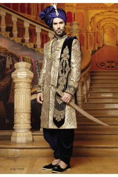 Royal Blue,Beige,Golden Color Brocade Sherwani With Matching Patiala is Embellished With Zardozi,Stone Work to add a grace. Wedding Men, Wedding Suits, Blue Wedding, Mens Sherwani, Wedding Sherwani, Indian Groom Dress, Indian Fashion, Men's Fashion, Western Suits