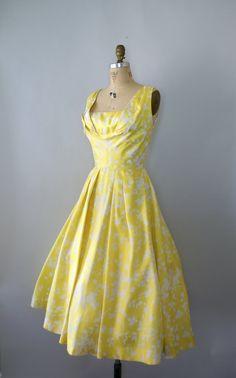 1950s formal, party dresses, formal dresses, 1950s dress, vintag 1950s, frank starr, lemon yellow, fashion model, 1950s fashion