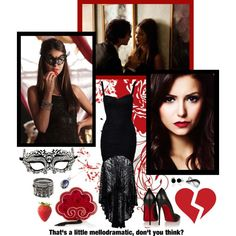 'So call it pride or vanity, but after the life that I've lead, I refuse to drift off into the sunset.'-Katherine Pierce by cupcakedream21 on Polyvore featuring Mode, Club L, Christian Louboutin, Charlotte Olympia, LeVian, Lazuli, Bling Jewelry and Masquerade