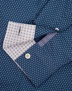 Micro square printed shirt - Navy | Shirts | Ted Baker UK