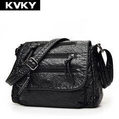 ca52e71abdd0 Kvky брендовые модные мягкие кожаные Сумки на плечо женская Кроссбоди мешок  Портативный Для женщин сумка женская