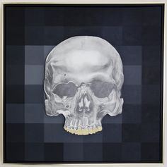 "For Sale: Human Skull by Kyle O'Malley | $1,500 | 24""w 24""h 