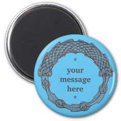 Customizable Magnet OUROBOROS II blue Snake Dragon, Irish Celtic, Detail Shop, Love Notes, Your Message, Office Gifts, Custom Clothes, Gifts For Dad, Special Gifts