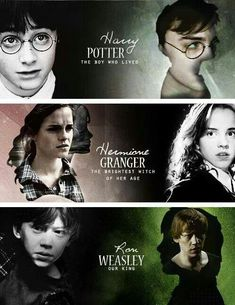 Harry Potter, Hermione Granger and Ron Weasley Harry Potter Puns, Harry Potter Feels, Theme Harry Potter, Harry Potter Tumblr, Harry James Potter, Harry Potter Hermione, Harry Potter Pictures, Harry Potter Characters, Harry Potter World