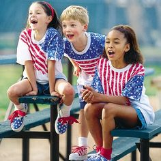 DIY Stars-and-stripes T's & Sneaks!  A fairly easy and inexpensive project for you and the kids! What cute designs!