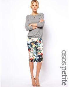 ASOS PETITE Exclusive Pencil Skirt In Floral Print, Asos